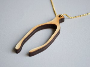 Wood Wishbone Necklace on Gold Chain
