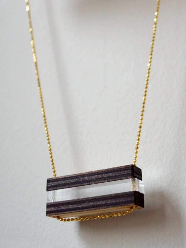 Laser Cut Wood Clear Bar Bead Necklace 4