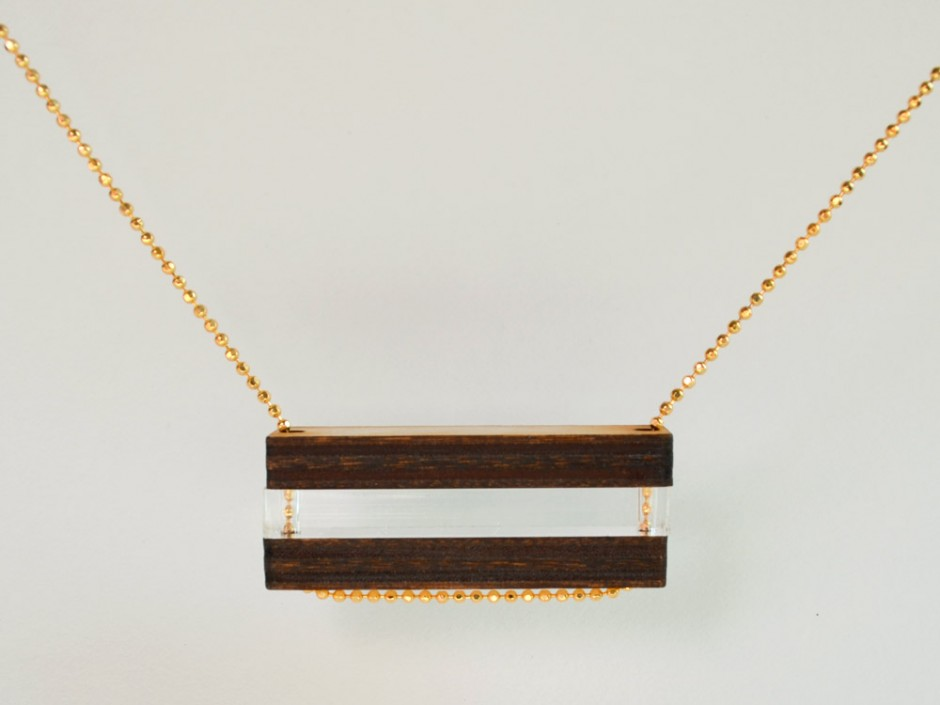 Laser Cut Wood Clear Bar Bead Necklace 2