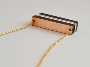 Laser Cut Wood Clear Bar Bead Necklace